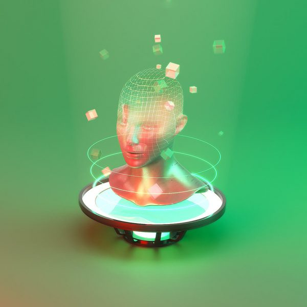 an image of a hologram of head and shoulders on a sort technological plinth