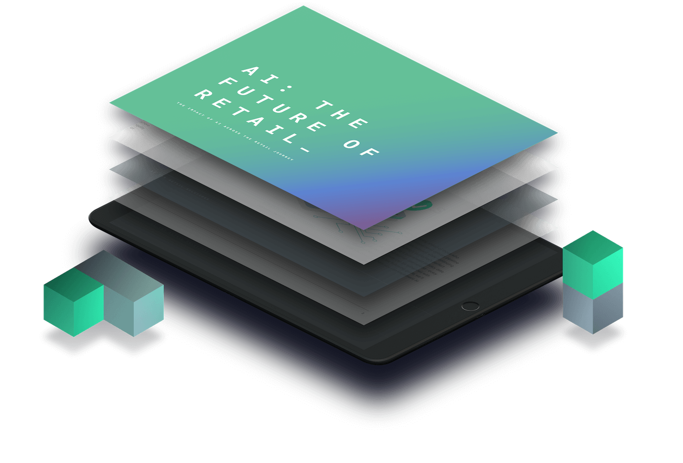 AI future of retail guide coming out of a tablet